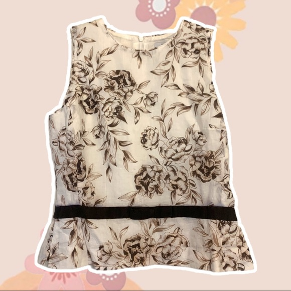 White and Brown Floral Peplum Tank